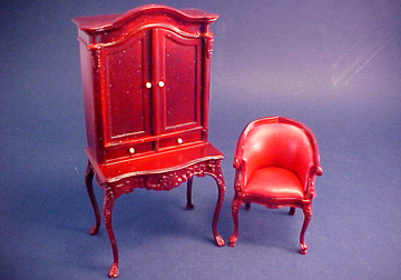 "1"" Scale Bespaq Mahogany Lady's Secretary Set"