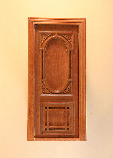 "Majestic Mansions 1"" Scale Miniature Walnut Penniman Carved Single Door Without Glass"