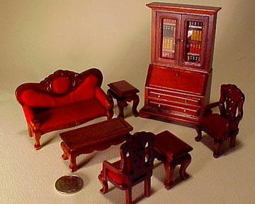 Townsquare Miniatures 1/2� Scale Miniature Mahogany Living Room Set Seven Pieces