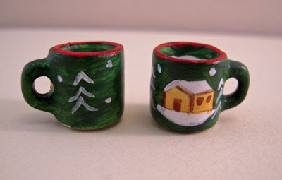 "1"" Scale Bright deLights Pair Of Winter Cottage Mugs"