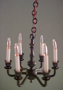 Clare-Bell Brass 1/2&quot; Scale Six Arm Antique Black Chandelier 
