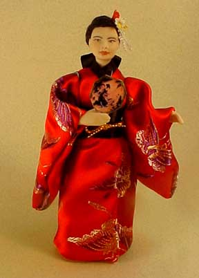 "Cindy's Dollhouse 1"" Scale Oriental Lady in Red"