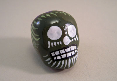 "1"" Scale ""Day Of The Dead"" Painted Ceramic Skull"