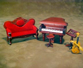 "Townsquare Miniatures 1/2"" Scale Miniature Five Piece Music Room Set"