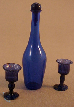 "1"" Scale Cobalt Blue Glass Wine Decanter and Glasses"