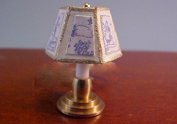 "Miniscules 1/2"" Scale Miniature Non-Working Blue Candlestick Base Table Lamp"