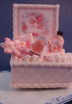 Loretta Kasza 1&quot; Scale Miniature Hand Crafted Pink Baby Bath Box