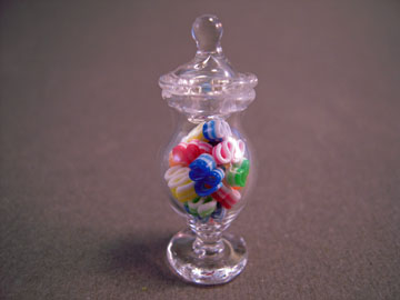 "1"" Scale Fancy Glass Jar Filled With Ribbon Candy"