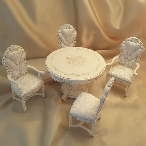 Majestic Mansions Five Piece Hand Painted Morningside Breakfast Room Set 1:12