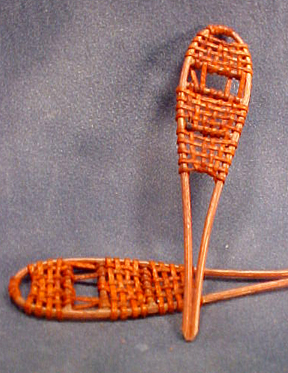 """1/2"""" Scale Miniature Hand Crafted Leather Snow Shoes"""