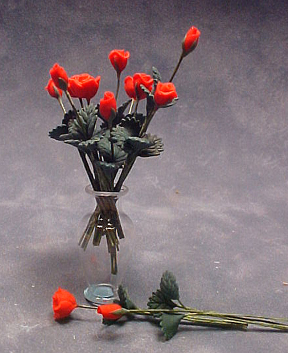 "Bright deLights 1"" Scale Dozen Red Roses With A Glass Vase"