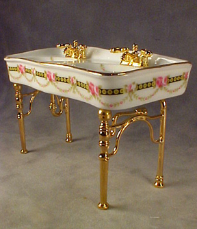 1&quot; Scale Reutter Porcelain Victorian Rose Bathroom Sink