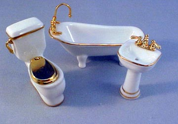 "Reutter 1/2"" Scale Miniature Gilded White Porcelain Bathroom Set"