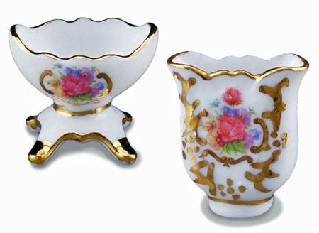 Reutter Porcelain Fancy Flower Vase Set 1:12