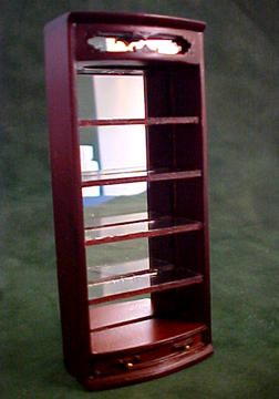 "Bespaq 1/2"" Scale Mahogany Emporium Curved Open Shelf"