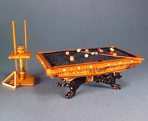 "Bespaq 1/2"" Scale Miniature Hand Painted Lion Pool Table Set"