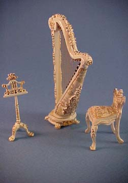 Bespaq 1/2&quot; Scale Fantasy Lyre Three Piece Hand Painted Harp Set 