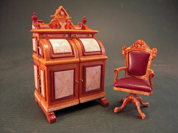 "Bespaq 1/2"" Scale Miniature Hand Painted Cabinet Desk Set"