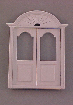 Majestic Mansions 1/2&quot; Scale Miniature White Newport Double Door 