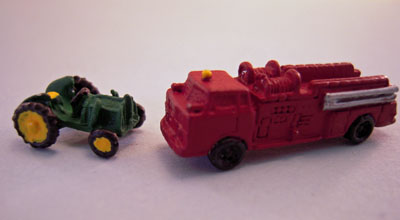 "Artisan Miniatures 1"" Scale Hand Painted Metal Toy Truck And Tractor"