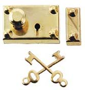 "Houseworks 1"" Scale Brass Americana Door Lock with Keys"
