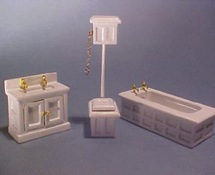 Half Scale High Flush Bathroom 3 Piece Set Miniature