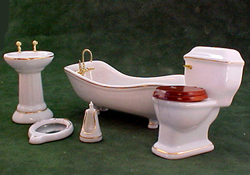 Townsquare Miniatures Gilded White Bath Set