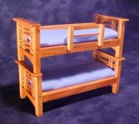 "Townsquare 1/2"" Scale Miniature Light Blue Bunk Bed"
