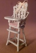 "Warling Miniatures 1/2"" Scale Hand Crafted High Chair"