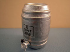 "1"" Scale Miniature Silver Beer Keg"