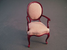 "1"" Scale Bespaq Mahogany Rich Beige Arm Chair"