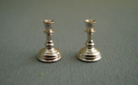 "Clare-Bell Brass 1/2"" Scale Silver Candlesticks"