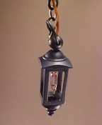 "Clare-Bell Brass 1/2"" Scale Antique Black Hanging Coach Lamp"