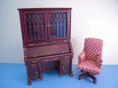 "1"" Scale Vintage Bespaq Mahogany Tambour Desk Set"