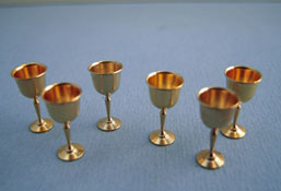 "Clare-Bell Brass 1"" Scale Set Of Six Brass Goblets"