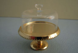 "1"" Scale Clare-Bell Brass Cake Plate with Glass Cover"
