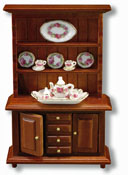 "Reutter Porcelain 1/2"" Scale Walnut Buffet With Rose Tea Set"