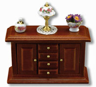 "Reutter Porcelain 1/2"" Scale Walnut Sideboard Display"