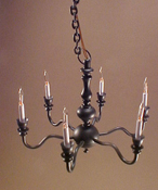 "1"" Scale Six Arm Antique Black Chandelier"
