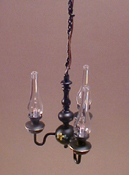 "1"" Scale Antique Black Tole Chandelier with Glass Shades"
