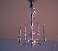 "1"" Scale Clare-Bell Brass Five Arm Sparkling Silver Chandelier"