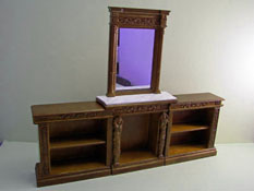 "1"" Scale Walnut Bespaq ""Hiram"" Fireplace and Bookcase Set"