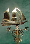 "1"" Scale Brass Schooner Weathervane"