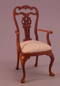 "Bespaq 1"" Scale Miniature Walnut White Carved Arm Chair"