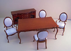 "Bespaq 1"" Scale Walnut Six Piece Petite Francoise Dining Set"