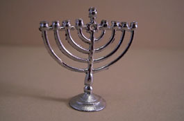 "Island Crafts 1/2"" Scale Chanukah Silvertone Menorah"