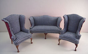 "Bespaq 1"" Scale Three Piece Elegant Hounds Tooth and Scarlet Sofa Set"