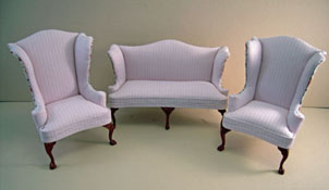 "Bespaq 1"" Scale Three Piece Elegant Shabby Chic Pink Wing Sofa Set"