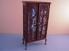 "1"" Scale Bespaq Miniature Old Walnut Curio Cabinet"