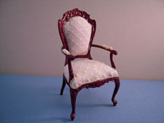 "1"" Scale Bespaq White Brocade Silk Arm Chair"